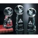 Tapered Optical Crystal Globe Award - 3 sizes #5864